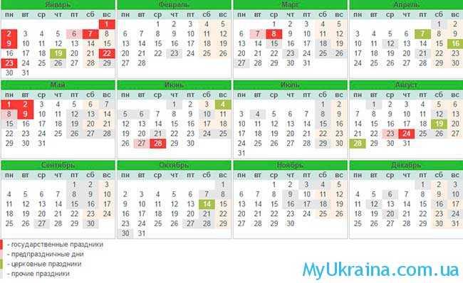 официальные праздники 2017 года в Украине