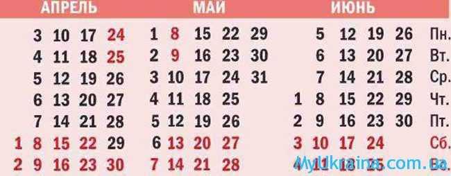 календарь на 4,5,6 месяцы