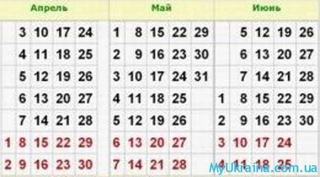 календарь на май
