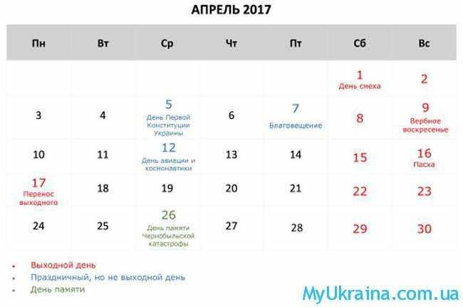 календарь на апрель 2017