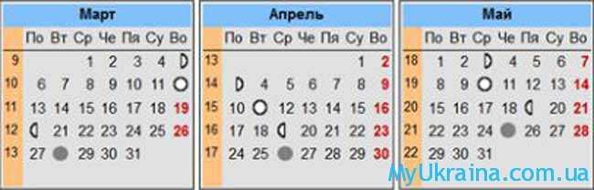 лунный календарь на март,апрель,май
