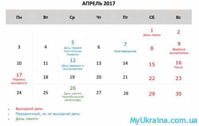 календарь на апрель 2017 года