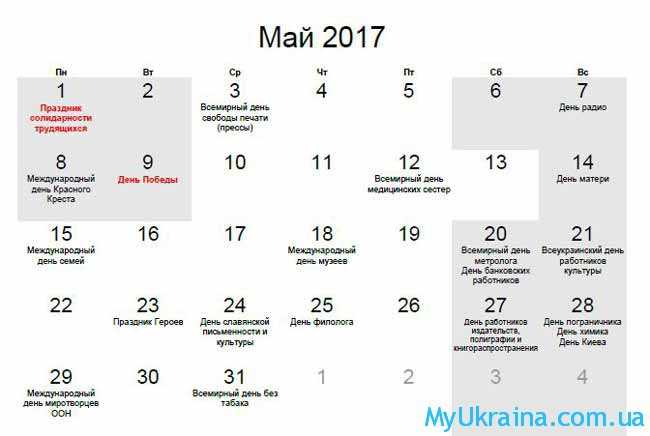 Календар на 2017 рік , травень