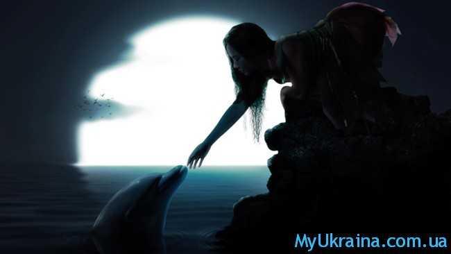 луна, девушка,дельфин