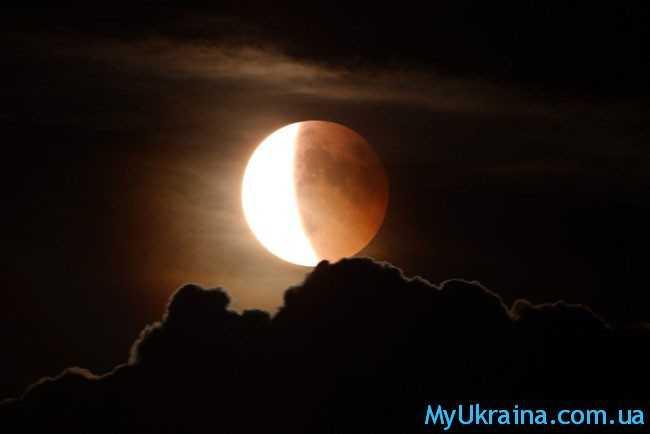 луна и черное небо
