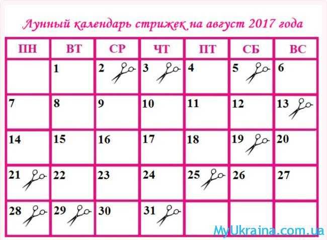 Лунный календарь стрижек на август 2017 года