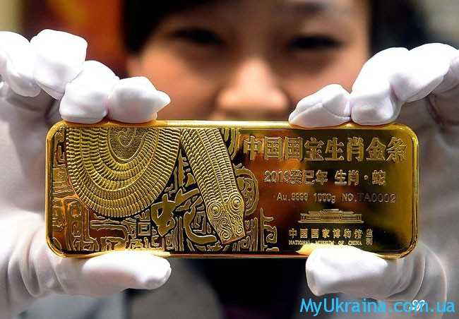 китайский слиток золота