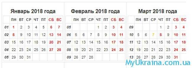рабочие дни в марте 2018 года в Украине
