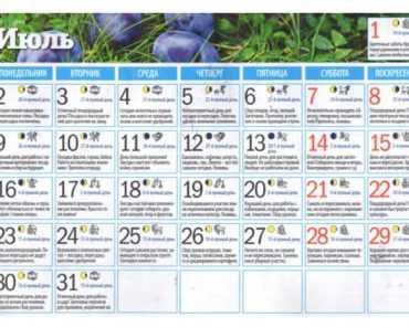 Посадочный календарь в Украине на июль 2018 года