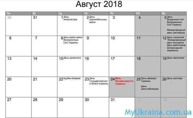 Государственные праздники в августе 2018 года в Украине