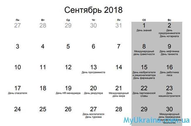 Какие праздники в сентябре 2018 года в Украине