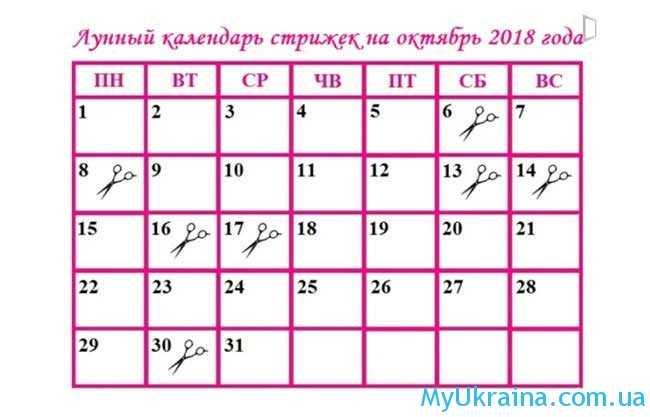 Календарь луны для стрижки на октябрь 2018 года в Украине