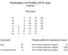 Производственный календарь на ноябрь 2018 года в Украине