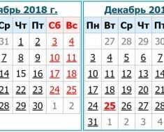 Выходные дни в Украине в декабре в 2018 года