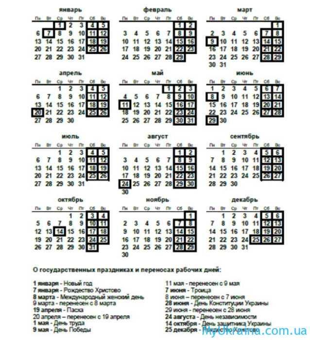 Производственный календарь для Украины в таблице